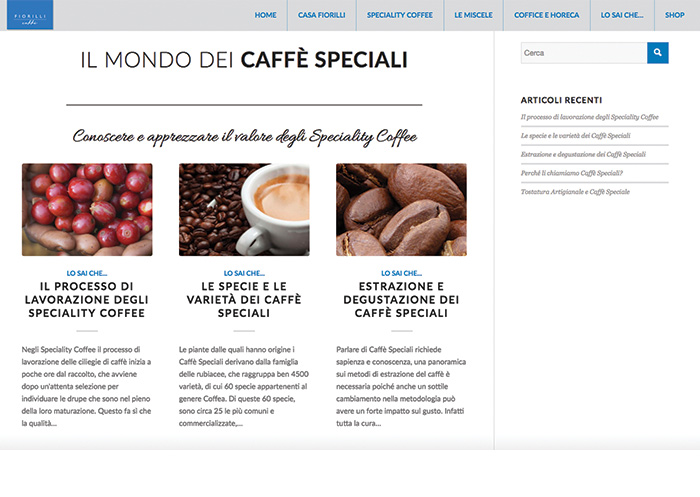 Web marketing realizzazione siti web caff speciali for Siti web di idee di case